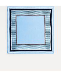 Tommy Hilfiger Satijnen Sjaal Met Th-monogramprint - Blauw