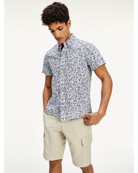 Tommy Hilfiger Slim Fit Overhemd Met Bloemenprint En Korte Mouwen - Blauw