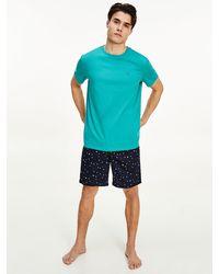 Tommy Hilfiger Korte Pyjamaset Met Geruite Short - Naturel