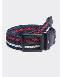 Tommy Hilfiger Denton Textilgürtel mit Streifen - Blau