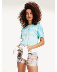 Tommy Hilfiger Tie-dye Cropped T-shirt - Blue