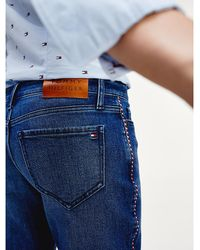 Tommy Hilfiger Rome Straight Fit Jeans Met Contrasterende Tape - Blauw