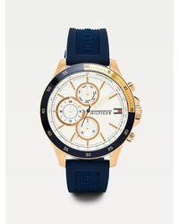 Tommy Hilfiger Montre trois cadrans bracelet silicone bleu