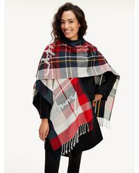 Tommy Hilfiger Tommy Icons Poncho Met Tartanruit - Blauw