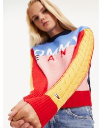 Tommy Hilfiger - Multicolour Logo Cropped Fit Jumper - Lyst