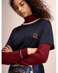 Tommy Hilfiger - Ribbed Neck Crest Embroidery T-shirt - Lyst
