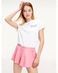 Tommy Hilfiger Pyjamaset Van T-shirt Met Logo En Short - Oranje