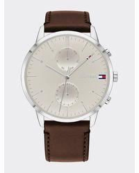 Tommy Hilfiger Roestvrijstalen Horloge Met Bruine Leren Band