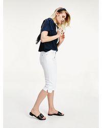 Tommy Hilfiger Venice Medium Rise Witte Capri-jeans - Blauw