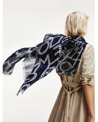 Tommy Hilfiger Sjaal Met Touwprint - Blauw