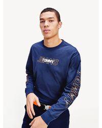 Tommy Hilfiger T-shirt Met Lange Mouwen En Logo - Blauw