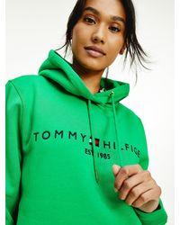 Tommy Hilfiger Essential Fleece Hoodie Met Logo - Groen