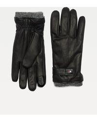 Tommy Hilfiger Touchscreenhandschoenen Van Getextureerd Leer - Zwart