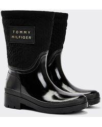 Tommy Hilfiger Warm Gevoerde Regenlaars Met Monogramreliëf - Zwart