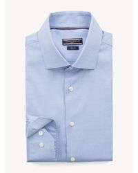 Tommy Hilfiger Slim Fit Overhemd Met Wide Spread-kraag - Blauw