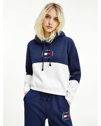 Tommy Hilfiger Colour-blocked Cropped Hoody - White