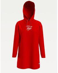 Tommy Hilfiger Hoodie-Kleid aus Bio-Baumwolle mit Signatur - Rot