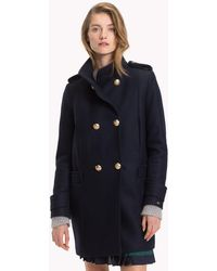 Tommy Hilfiger - Funnel Neck Double-breasted Coat - Lyst