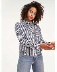 Tommy Hilfiger - Repeat Logo Stripe Cropped Fit Shirt - Lyst