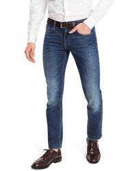 Tommy Hilfiger Denton Straight Fit Jeans Met Medium Wassing - Blauw