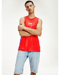 Tommy Hilfiger Recycled Polyester Mesh Relaxed Fit Tank - Red