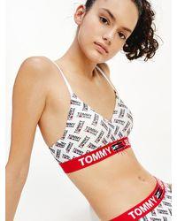 Tommy Hilfiger Bralette Met Logoprint En Lichte Vulling - Metallic