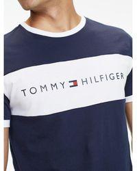 Tommy Hilfiger Lounge T-shirt Met Ronde Hals, Contrasterend Vlak En Logo Op - Blauw