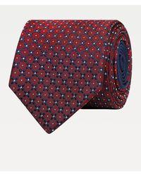 Tommy Hilfiger Pure Silk Floral Dot Design Tie - Red