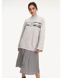 Tommy Hilfiger Sweatshirt Met Paillettenmonogram - Grijs