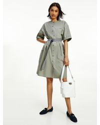 Tommy Hilfiger - Belted Cotton Shirt Dress - Lyst