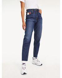 Tommy Hilfiger High Rise Mom Fit Jeans Met Vlag - Blauw