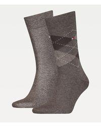 Tommy Hilfiger Set Van 2 Paar Versterkte Sokken Met Ruit - Bruin