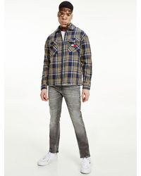 Tommy Hilfiger Relaxed Fit Overshirt Met Ruit - Blauw