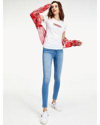 Tommy Hilfiger Slim Fit T-shirt Met Logo - Wit