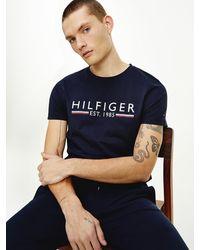Tommy Hilfiger Biologisch Katoenen T-shirt Met 1985-logo - Blauw