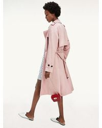 Tommy Hilfiger Belted Double Breasted Trench Coat - Pink