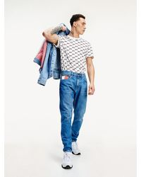 Tommy Hilfiger Rey Tapered Jeans Met Fading - Blauw
