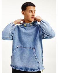 Tommy Hilfiger Popover-Jacke aus Denim mit Neon-Logo - Blau