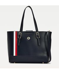 Tommy Hilfiger Medium Shopper Met Metalen Monogram - Blauw