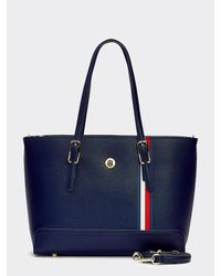 Tommy Hilfiger Medium Shopper Met Monogram - Blauw