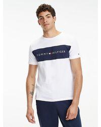 Tommy Hilfiger Lounge T-shirt Met Ronde Hals En Contrasterend Inzetstuk Op - Wit