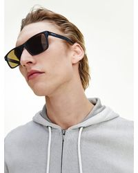Tommy Hilfiger Rechthoekige Zonnebril Van Acetaat - Zwart