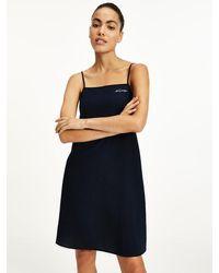 Tommy Hilfiger Embroidery Logo Seersucker Dress - Blue