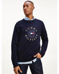 Tommy Hilfiger Sweatshirt Met Geborduurde vlaggen - Blauw
