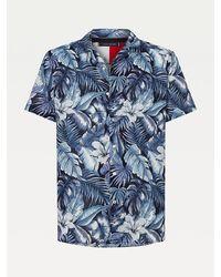 Tommy Hilfiger Big & Tall Overhemd Met Korte Mouwen En Hawaïprint - Blauw