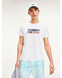 Tommy Hilfiger Biologisch Katoenen T-shirt Met Logo - Wit
