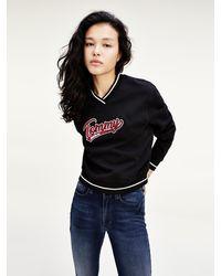 Tommy Hilfiger Cropped Sweatshirt Met V-hals En Retro Logo - Zwart