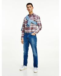 Tommy Hilfiger Straight Relaxed Fit Jeans Met Fading - Blauw