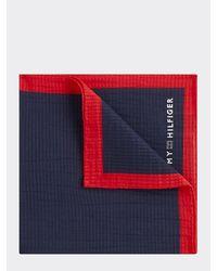 Tommy Hilfiger Cotton Silk Contrast Trim Pocket Square - Blue