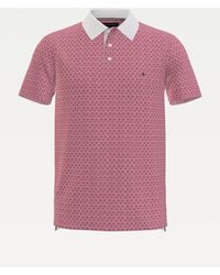 Tommy Hilfiger Slim Fit Polo Met Microprint - Rood
